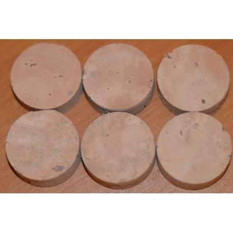 les 6 rondelles de liège avec ou sans trou central pleine fleur origine France - 33mm x 12.5mm sans trou central