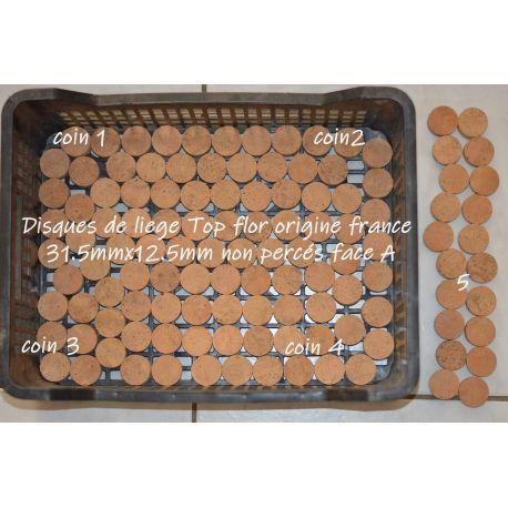 Les 6 Rondelles de liège pleine fleur origine france ou sans trou central 31.5x12.5